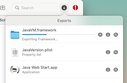 the Exports status UI